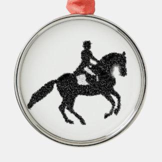 Dressage Horse and Rider Mosaic Design Metal Ornament