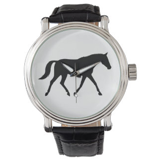 Dressage Horse in Silhouette Wrist Watches