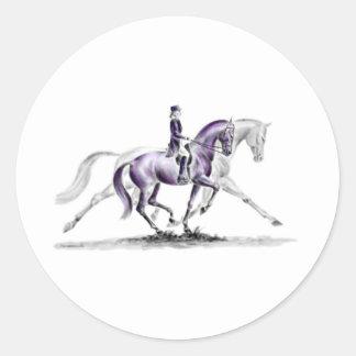 Dressage Horse in Trot Piaffe Round Sticker