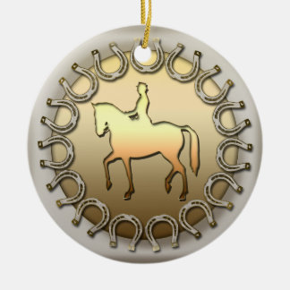 Dressage Horse Rider and Horseshoes Ceramic Ornament