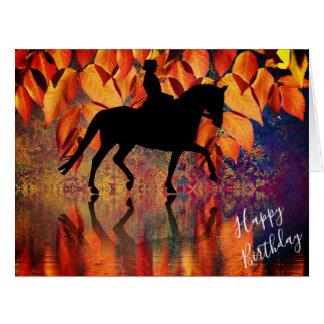 Dressage Horse, Rider Autumn Leaves BIG Birthday Card