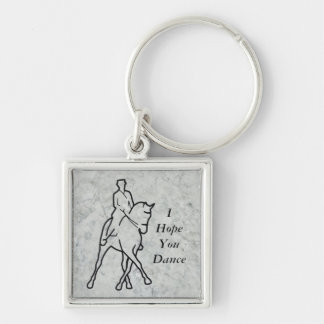 Dressage Horse & Rider - Half Pass Silver-Colored Square Key Ring