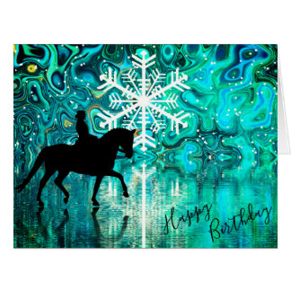 Dressage Horse Winter Snowflake Happy Birthday Card