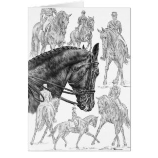 Dressage Horses Montage Drawing by Kelli Swan Card