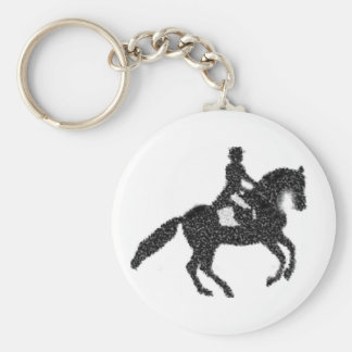 Dressage Key Chain-  Mosaic Horse and Rider Key Ring