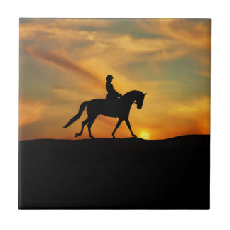 Dressage Rider and Sunset Art Tile