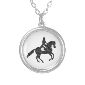Dressage Sticker- Mosaic Horse and Rider Silver Plated Necklace