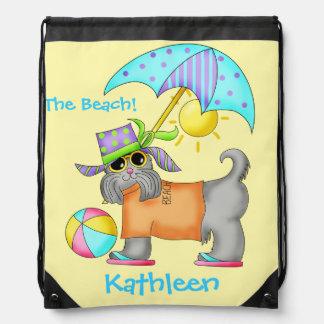 Dressed Beach Dog Personalized Yellow Rucksack