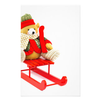 Dressed Christmas bear on red wooden sleigh Custom Stationery