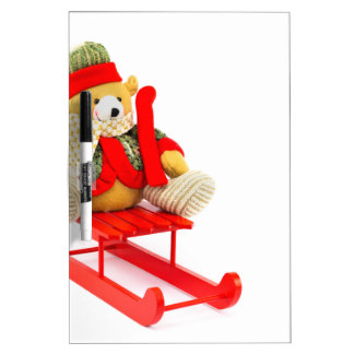 Dressed Christmas bear on red wooden sleigh Dry-Erase Whiteboards