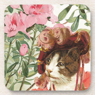 Dressed Floral Victorian Cat Pink Flowers Hat Coaster