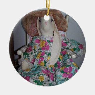Dressed Up Bunny, Easter Round Ceramic Decoration