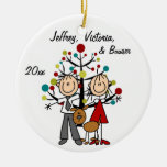 Dressed Up Couple With Dog Personalised Ornament