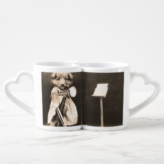 Dressed Up Puppy with Violin Couple Mugs
