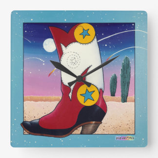 Dressed Up Western Cowboy Boot WALL CLOCK