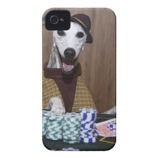 Dressed up Whippet dog at gambling table iPhone 4 Case-Mate Cases