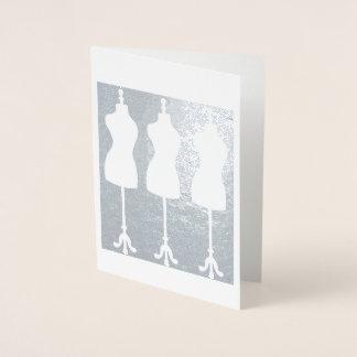 Dressform Mannequin Fashion Seamstress Sewing Foil Card