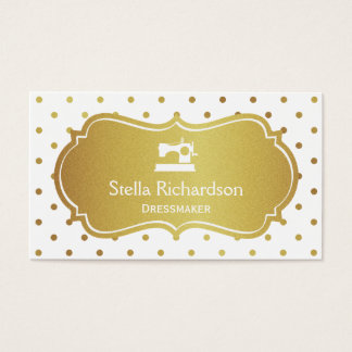 Dressmaker Seamstress Chic White Gold Polka Dots Business Card
