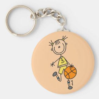 Dribbling Girl Basketball Tshirts and Gifts Basic Round Button Key Ring