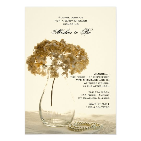 Dried Hydrangeas and Pearls Baby Shower Invitation