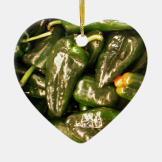 Dried Jalapeno Peppers Ceramic Heart Decoration