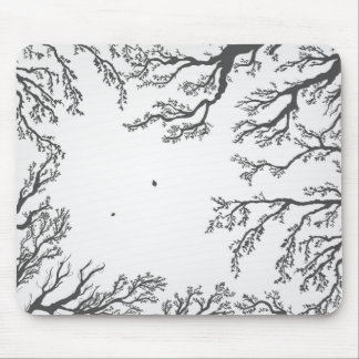 dried tree branches with birds and leaves mouse pad