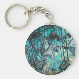 dried waterlily and reflection on lake in autumn key ring