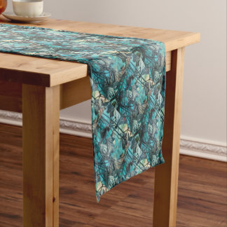 dried waterlily and reflection on lake in autumn short table runner