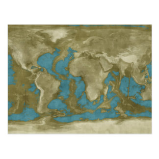 Dried World Map Postcard