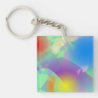 Drift Ice Double-Sided Square Acrylic Key Ring