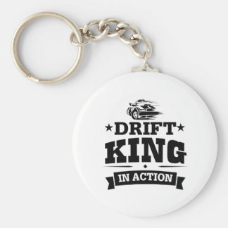 Drift King In Action Basic Round Button Key Ring