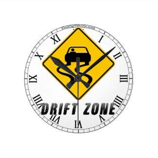 Drift Zone sign Round Clock