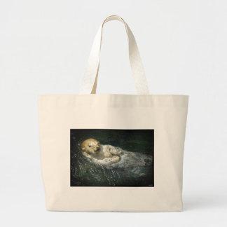 Drifting Away - Sea Otter Large Tote Bag