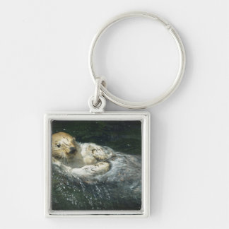 Drifting Away - Sea Otter Silver-Colored Square Key Ring