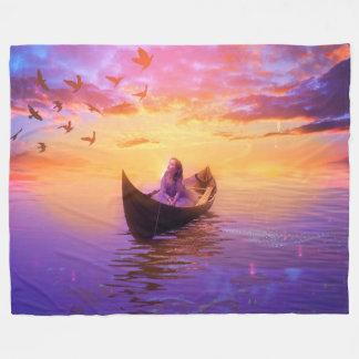 Drifting In A Boat Fantasy Fleece Blanket