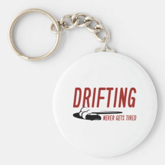 Drifting Never Gets Tired Basic Round Button Key Ring