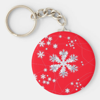 Drifting Snowflakes Red Gifts by Sharles Key Chain