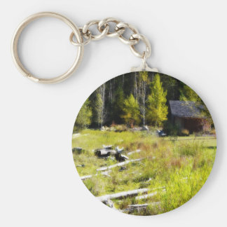 Driftwood and Cabin in Autumn Basic Round Button Key Ring