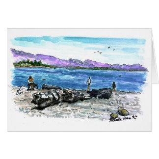 Driftwood and ocean card