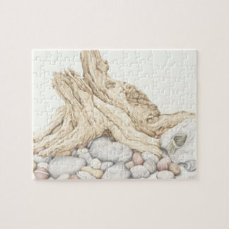 Driftwood and Pebbles Ceramic Tile Jigsaw Puzzle