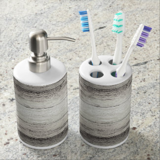 Driftwood Background Soap Dispenser And Toothbrush Holder