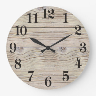 Driftwood Background Texture Large Clock