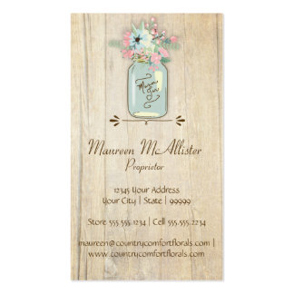 Driftwood Barn Wood Rustic Mason Jar Garden Floral Pack Of Standard Business Cards