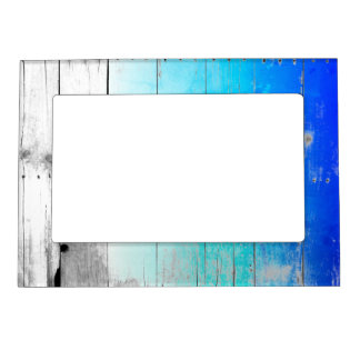 Driftwood Blue Painted Wood Weathered Nautical Magnetic Picture Frame