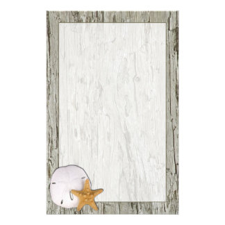 Driftwood Frame With Sand Dollar and Starfish Personalized Stationery