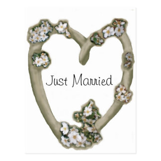 Driftwood Heart White Roses Just Married Postcard