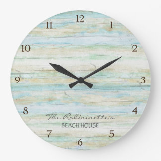 Driftwood Ocean Beach House Coastal Seashore Wall Clock