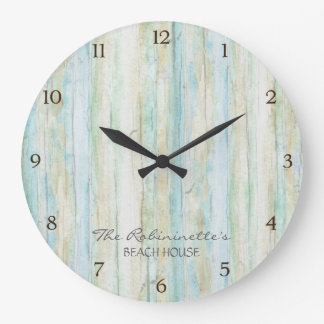 Driftwood Ocean Beach House Coastal Seashore Wallclocks