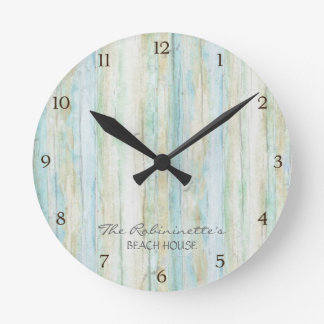 Driftwood Ocean Beach House Coastal Seashoredriftw Wall Clock