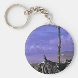 Driftwood on Beach Basic Round Button Key Ring